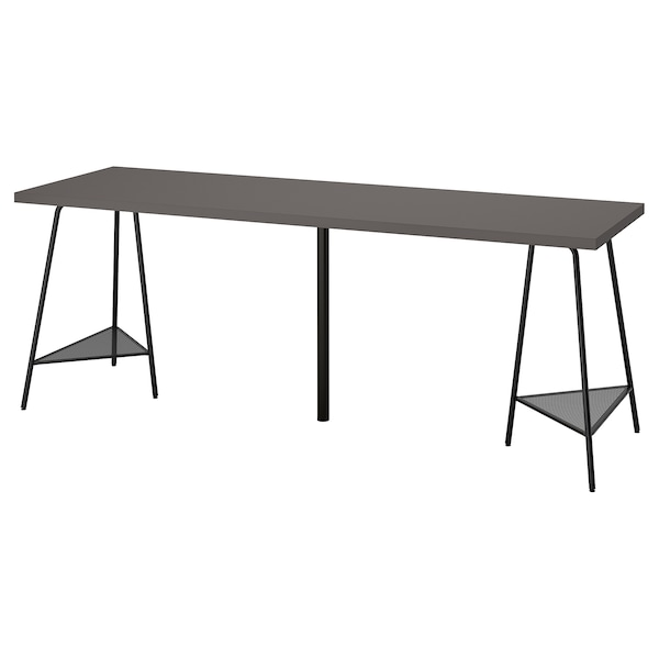 LAGKAPTEN / TILLSLAG Arbeidsbord, mørk grå/svart, 200x60 cm