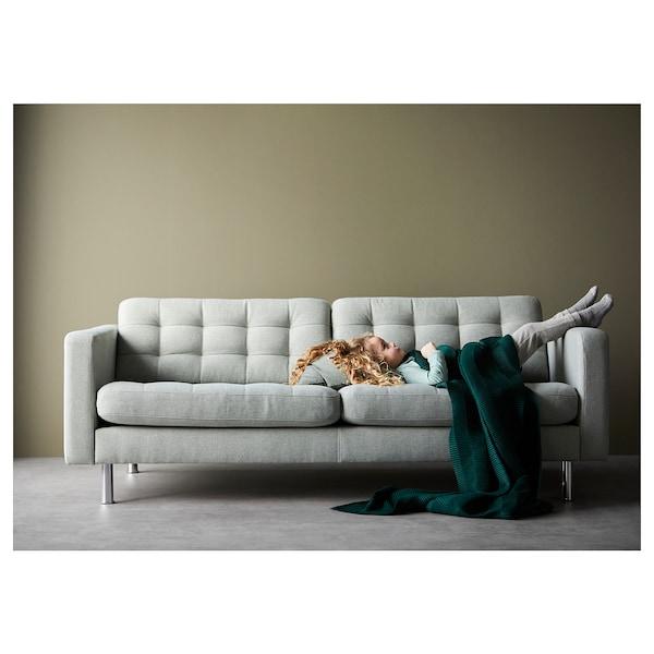 LANDSKRONA 3-seters sofa, Gunnared lys grønn / tre