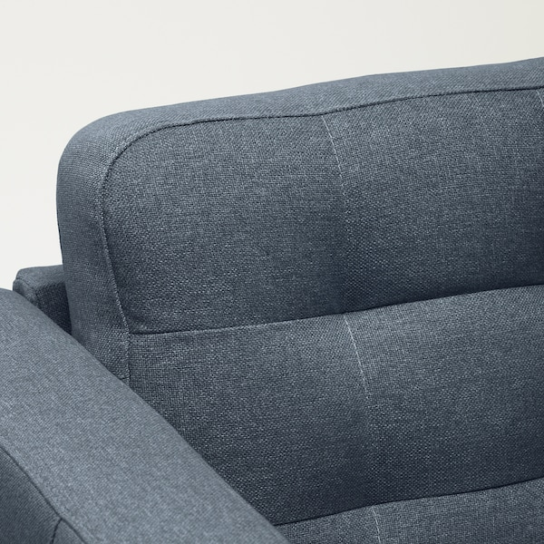 LANDSKRONA 3-seters sofa, med sjeselong/Gunnared blå/tre