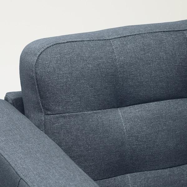 LANDSKRONA 4-seters sofa, med sjeselong/Gunnared blå/metall