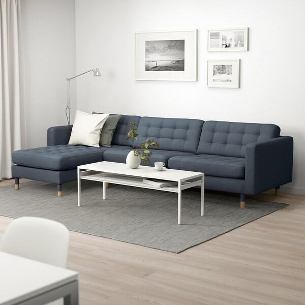 LANDSKRONA 4-seters sofa, med sjeselong/Gunnared blå/tre