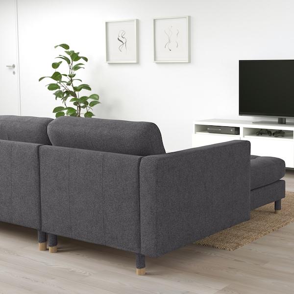 LANDSKRONA 4-seters sofa, med sjeselong/Gunnared mørk grå / tre