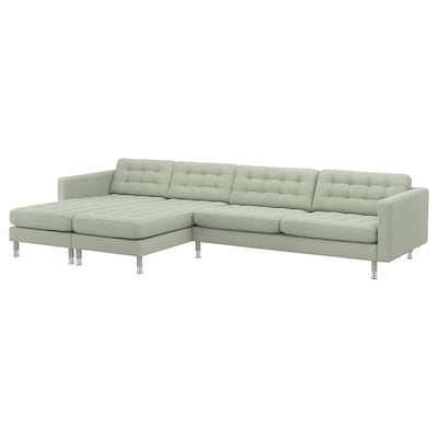 LANDSKRONA 5-seters sofa, med sjeselonger/Gunnared lys grønn / metall