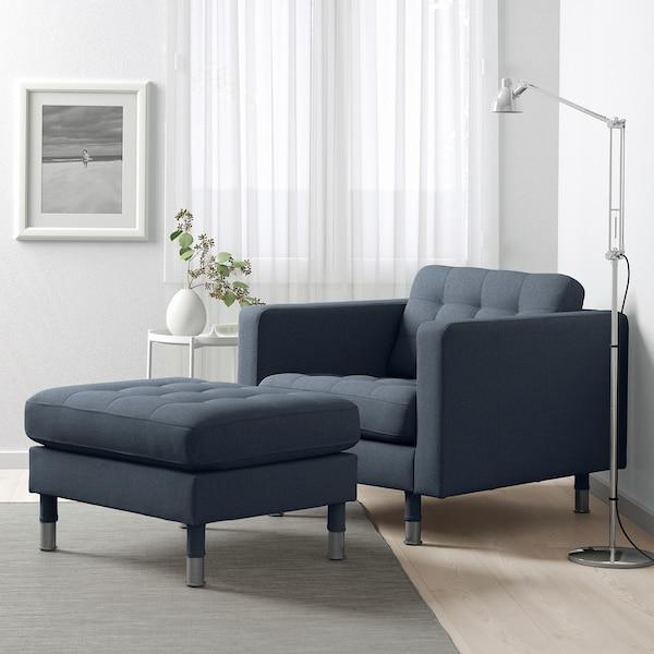 LANDSKRONA Fotskammel, Gunnared blå/metall