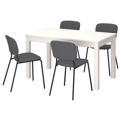 LANEBERG / KARLJAN Bord og 4 stoler, hvit/mørk grå mørk grå, 130/190x80 cm