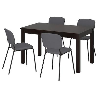 LANEBERG / KARLJAN bord og 4 stoler brun/mørk grå mørk grå 190 cm 130 cm 80 cm