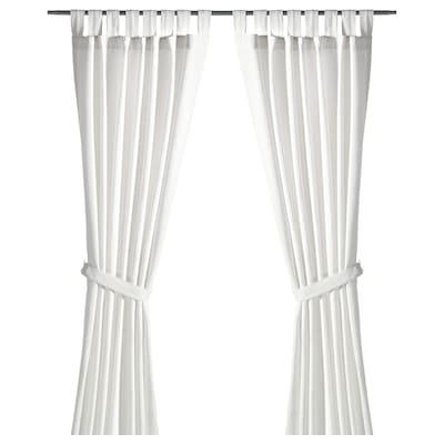 LENDA Gardiner med bånd, 1 par, hvit, 140x250 cm