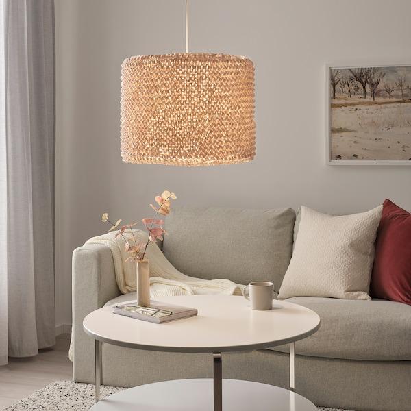 LERGRYN Lampeskjerm, strikket beige/håndlaget, 42 cm