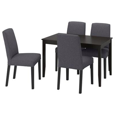 LERHAMN / BERGMUND Bord og 4 stoler, brunsvart/Gunnared mellomgrå, 118x74 cm