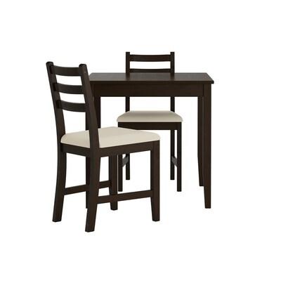 LERHAMN bord og 2 stoler brunsvart/Vittaryd beige 74 cm 74 cm 75 cm