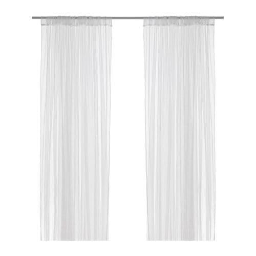LILL Gardinpar IKEA Tynn, florlett gardin; slipper inn dagslys. Klippes til ønsket lengde; trenger ikke legges opp.