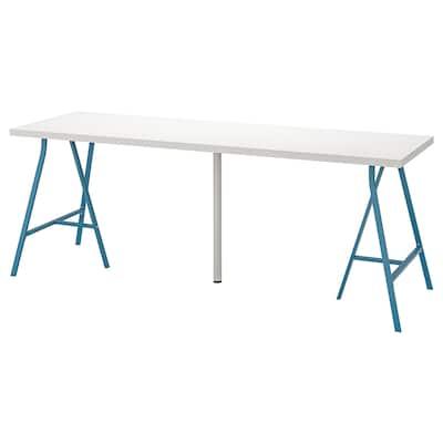 LINNMON / LERBERG bord hvit/blå 200 cm 60 cm 74 cm 50 kg