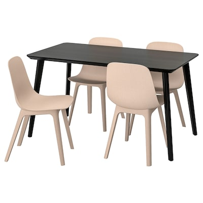 LISABO / ODGER bord og 4 stoler svart/beige 140 cm 78 cm 74 cm