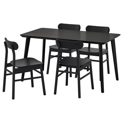 LISABO / RÖNNINGE bord og 4 stoler svart/svart 140 cm 78 cm