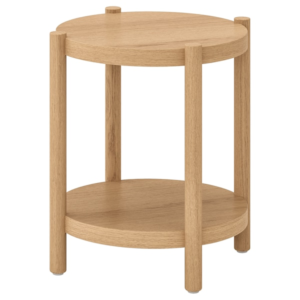 LISTERBY Bord hvitbeiset eik 50 cm | Side table, Sponplate