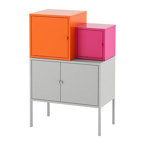LIXHULT Oppbevaringskombinasjon - grå oransje/rosa - IKEA