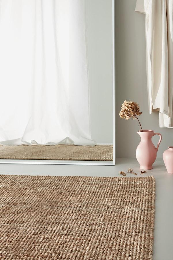 LOHALS Teppe, flatvevd, natur, 80x150 cm