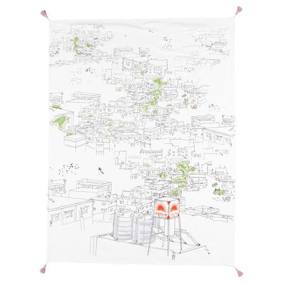 LOKALT Pledd, hvit flerfarget/håndlaget, 120x160 cm
