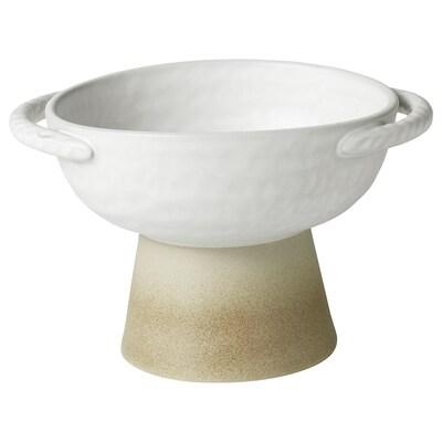 LOKALT Serveringsbolle, beige hvit/håndlaget, 15 cm