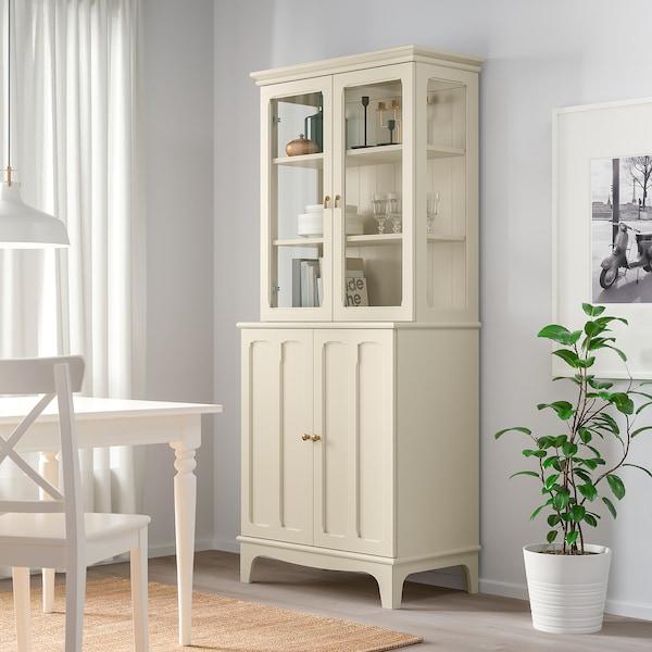 LOMMARP Skap med vitrinedører, lys beige, 86x199 cm