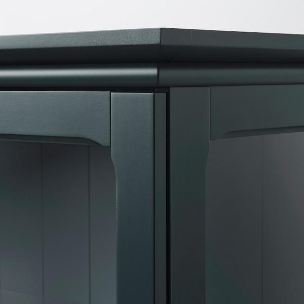 LOMMARP Skap med vitrinedører, mørk blågrønn, 86x199 cm