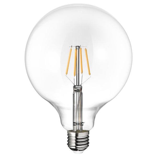 LUNNOM LED-pære E27 600 lumen, globe klart glass, 125 mm
