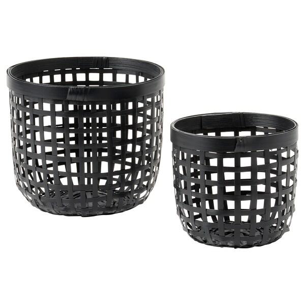 LUSTIGKURRE Kurv, sett 2 stk., svart bambus