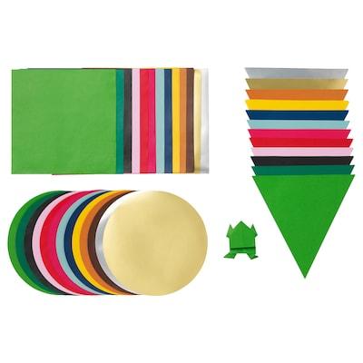 LUSTIGT Origamipapir, flere farger/flere former