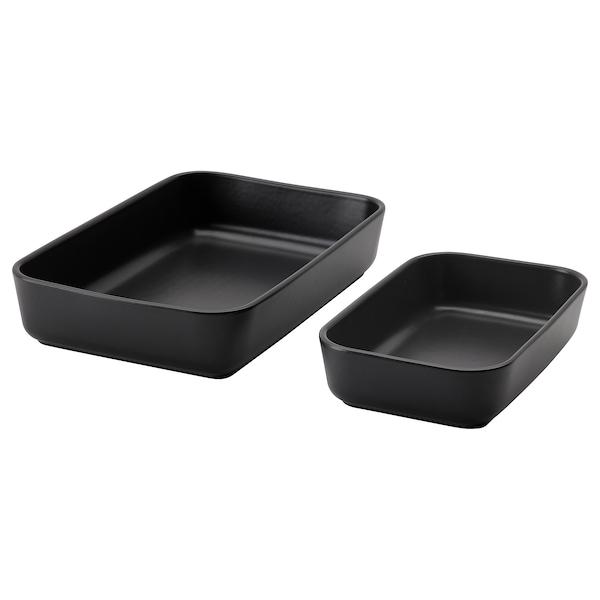 LYCKAD Ovns-/serveringsform, sett 2, mørk grå