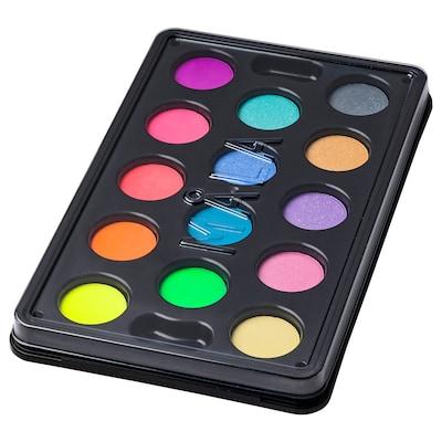 MÅLA Skrin med 14 vannfarger, flere farger