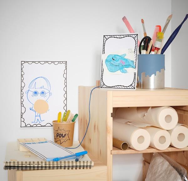 MÅLA Tegnekartong med ramme