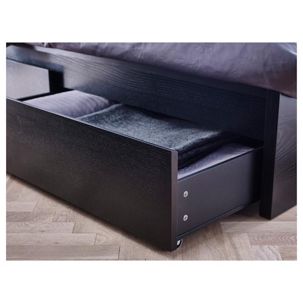 MALM Høy seng med 2 oppbevaringsbokser, brunsvart/Luröy, 90x200 cm