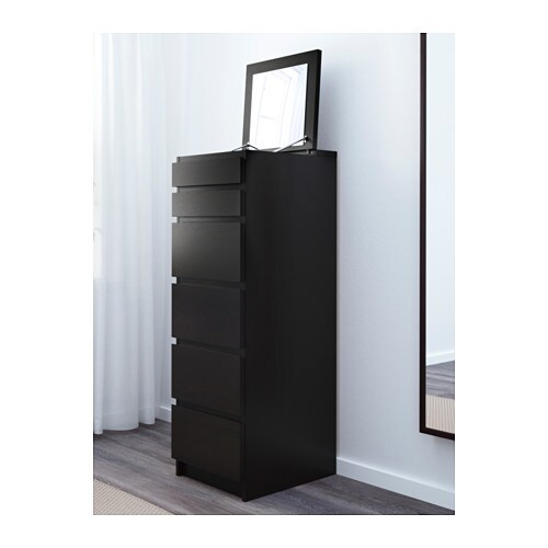 malm kommode 6 skuffer brunsvart speil ikea. Black Bedroom Furniture Sets. Home Design Ideas