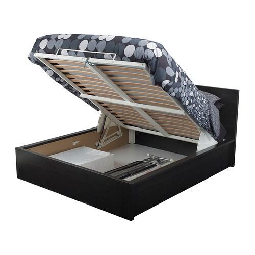 malm seng med oppbevaring brunsvart 160x200 cm ikea. Black Bedroom Furniture Sets. Home Design Ideas