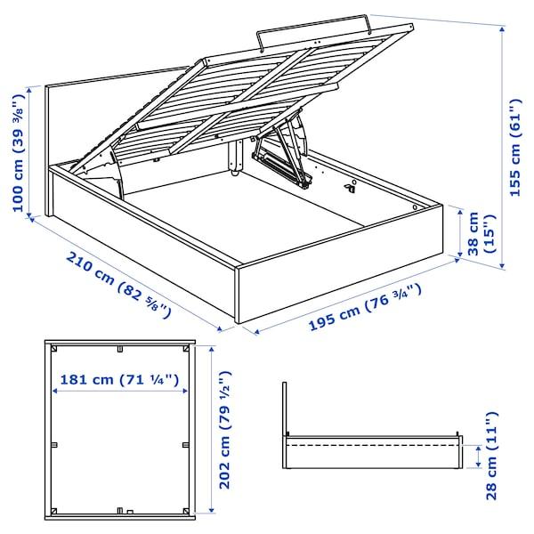 MALM Seng med oppbevaring, hvit, 180x200 cm