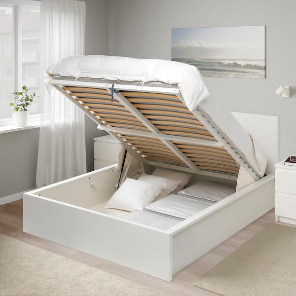 MALM Seng med oppbevaring, hvit, 140x200 cm