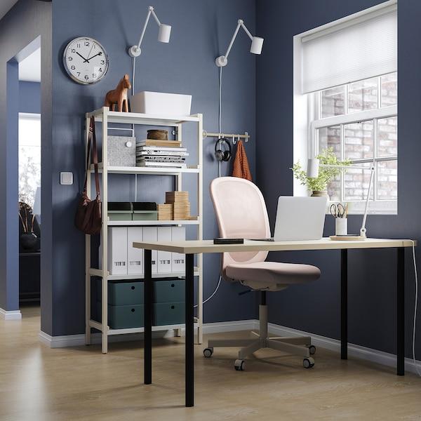 MÅLSKYTT / ADILS Arbeidsbord, bjørk/svart, 140x60 cm