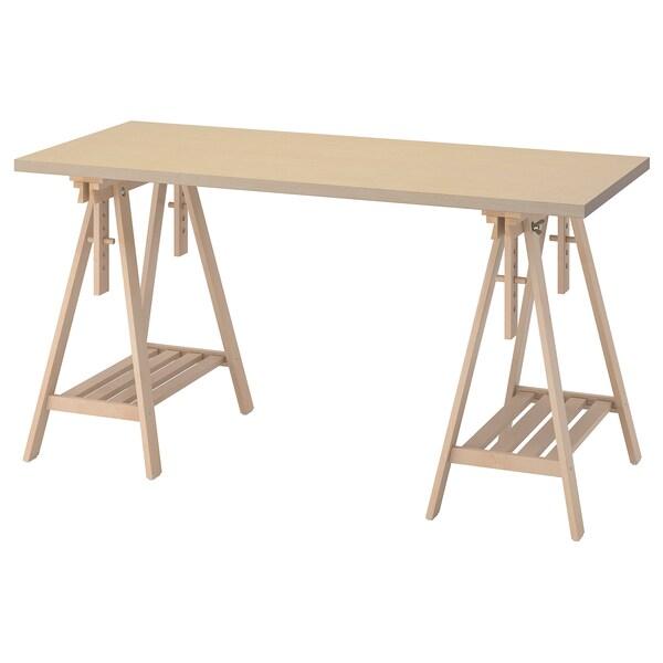 MÅLSKYTT / MITTBACK Arbeidsbord, bjørk, 140x60 cm