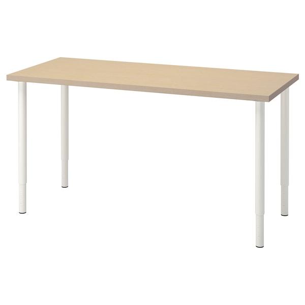 MÅLSKYTT / OLOV Arbeidsbord, bjørk/hvit, 140x60 cm