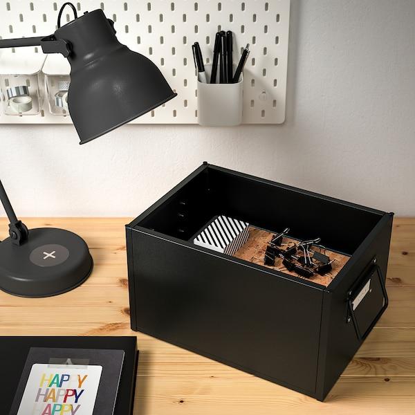 MANICK Kasse med lokk, svart, 25x35x20 cm