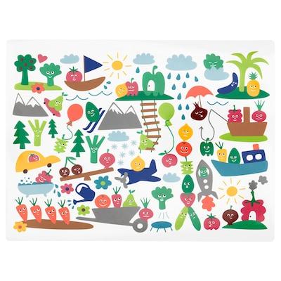 MATVRÅ Kuvertbrikke, frukt/grønnsaksmønster/flerfarget, 40x30 cm