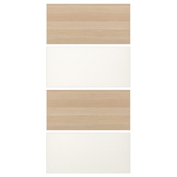 MEHAMN 4 panel til skyvedør, hvitbeiset eikemønster/hvit, 100x201 cm