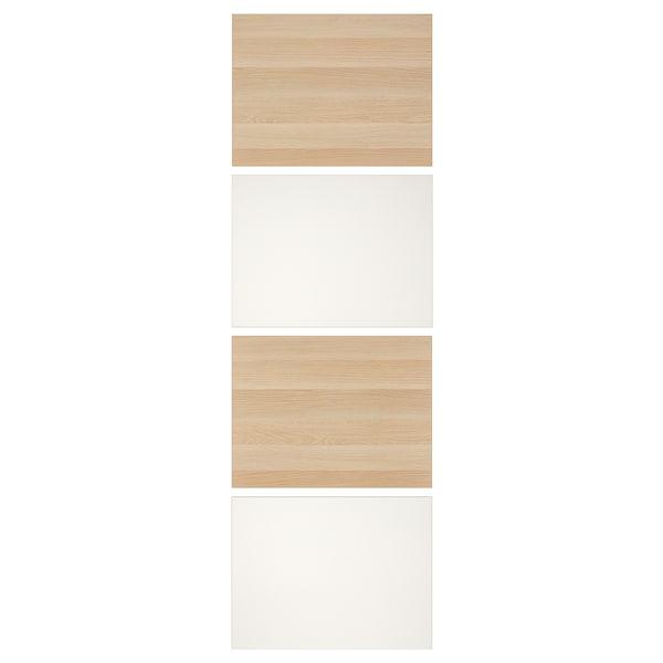 MEHAMN 4 panel til skyvedør, hvitbeiset eikemønster/hvit, 75x236 cm