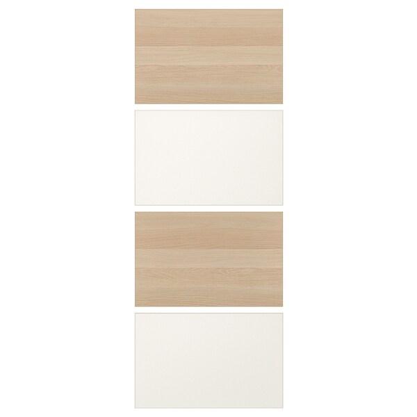 MEHAMN 4 panel til skyvedør, hvitbeiset eikemønster/hvit, 75x201 cm