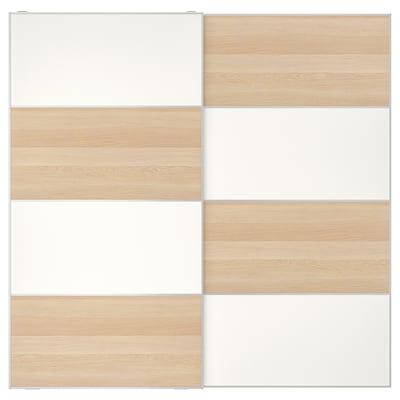 MEHAMN Skyvedører par, hvitbeiset eikemønster/hvit, 200x201 cm