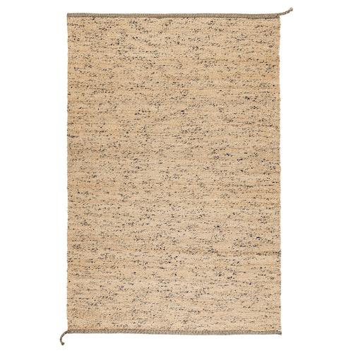 MELHOLT teppe, flatvevd håndlaget natur/mørk blå 195 cm 133 cm 5 mm 2.59 m² 2200 g/m²