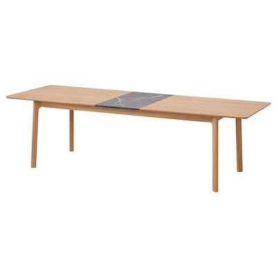 MELLANSEL Uttrekkbart bord, eikefiner/svart marmormønstret, 220/270x95 cm