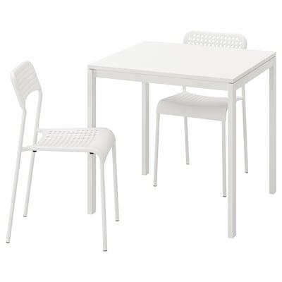 MELLTORP / ADDE Bord og 2 stoler, hvit, 75 cm