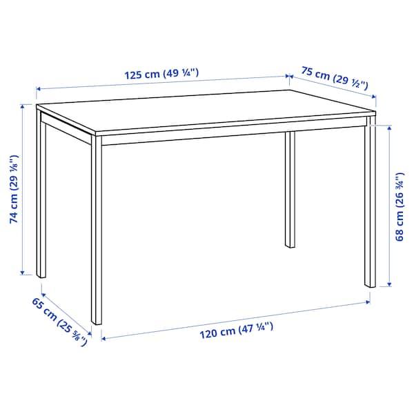 MELLTORP Bord, hvit, 125x75 cm