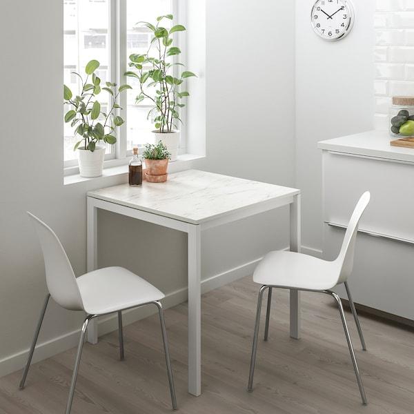 MELLTORP bord hvit marmor/hvit 75 cm 75 cm 74 cm
